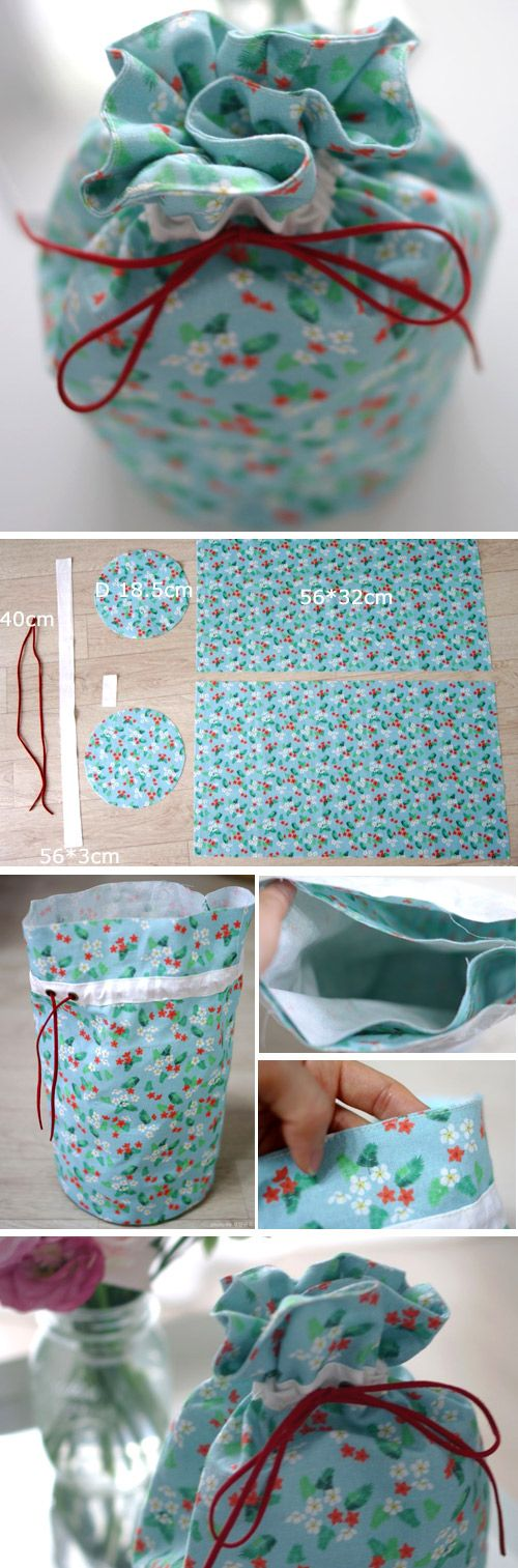 Make This easy Lined Drawstring Bag Pouch Tutorial http://www.free-tutorial.net/2016/12/drawstring-bag-pouch-tutorial.html