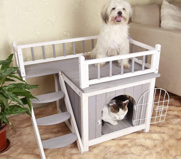 Petsfit Wooden Cat House With Stairs In 2020 Wooden Cat House Indoor Dog House Wood Dog House