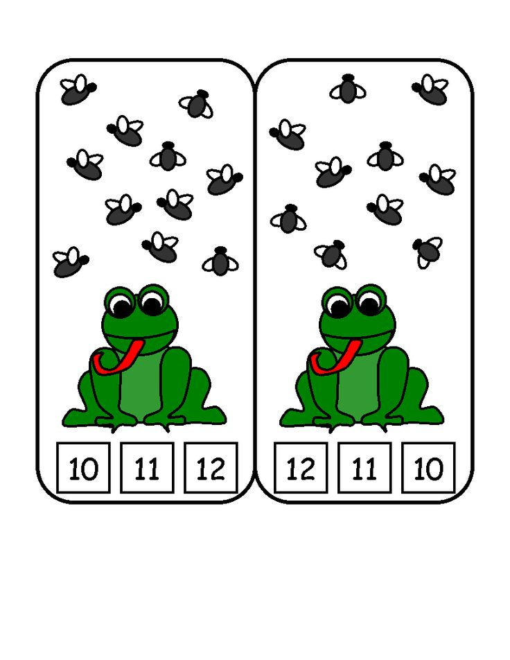 Here's a set of clothespin counting cards with a frog theme.