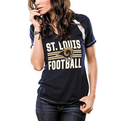 2x $21.99- Majestic St. Louis Rams Women's Navy Game Day V-Neck T-Shirt