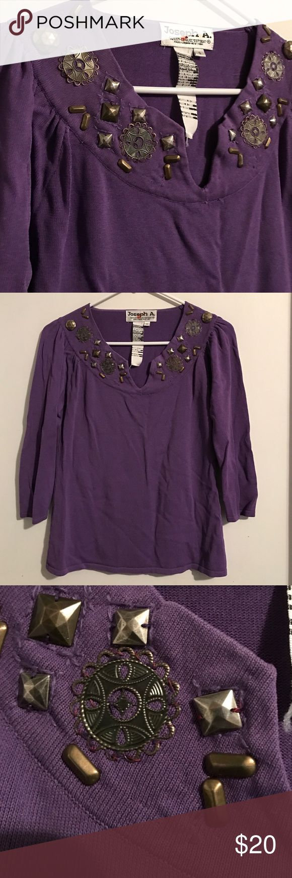 Unique Purple VINTAGE boho western embellished top Super unique vintage top in excellent condition fearures all over bronze embellishment along the neckline. I picture these adorable with a pair of jean shorts and cowboy boots Tops Blouses