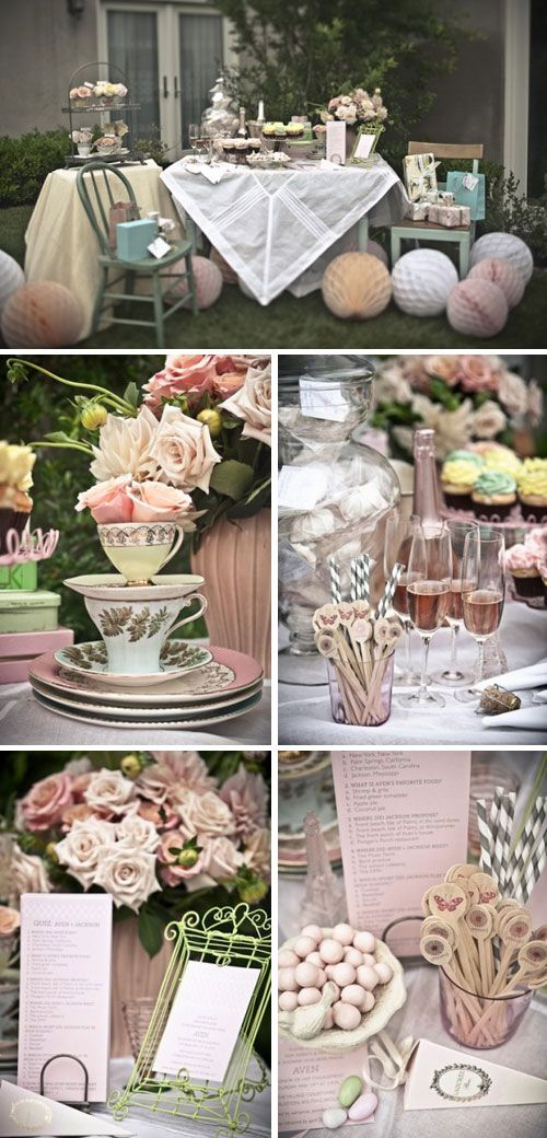 What a beautiful inspiration board for a Vintage Shower Theme. #ThrowbackThursday #BridalShower #Themes