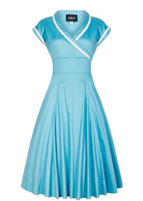 Collectif Yoshima swing dress light blue 1950s vintage look swing jurk licht blauw