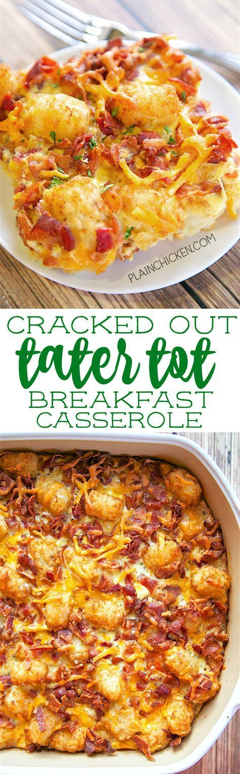Cracked Out Tater Tot Breakfast Casserole - great make ahead recipe! Only 6 ingredients!! Bacon, cheddar cheese, tater tots, eggs, milk, Ranch mix. Can refrigerate or freeze for later. Great for breakfast. lunch or dinner. Everyone loves this easy breakfast casserole!!