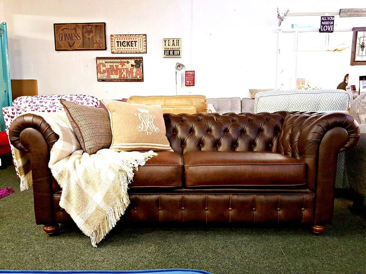 Debenhams Chesterfield 3 Seater Sofa In Brown Leather   Only £999 #3 Seater