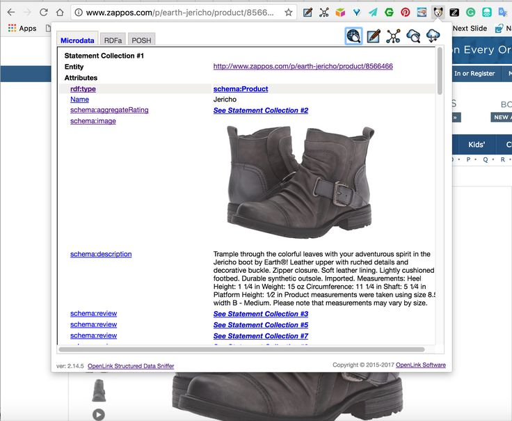 Zappos.com pages that used HTML5+Microdata to publish RDF-based Linked Data, using Schema.org terms.   #LinkedData #SchemaOrg #RDF #Microdata #HTML5 #eCommerce #Zappos #Shoes #SemanticWeb #StructuredData