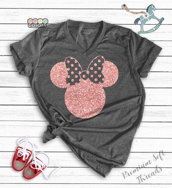 Minnie Mouse Wearing Sunglasses Shirt Women/'s Disney Vacation Shirt Minnie Mouse V-Neck Minnie Bow Shirt Minnie Mouse Castle Shirt