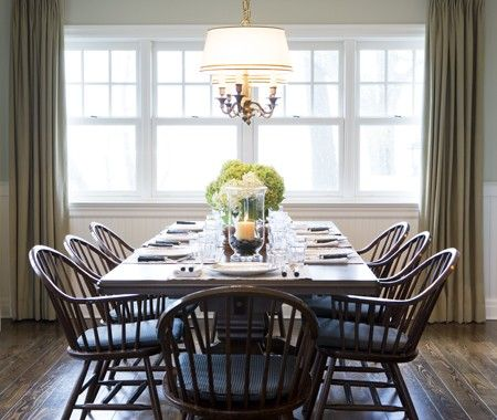 chairsDining Rooms, Decor Ideas, Country Dining Room, Farmhouse Tables, Dining Room Lights, Windsor Chairs, Farms Tables, Formal Dining, Mitchell Design