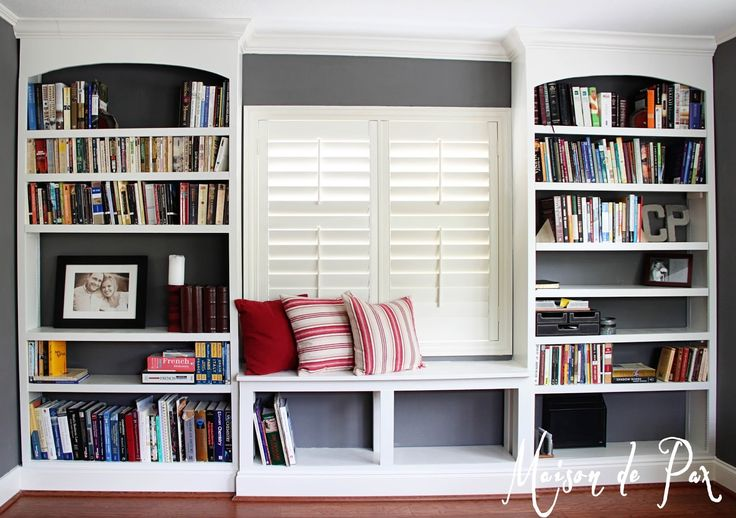 """I've been meaning to share an update on these for a while… But I'm pleased to say that no """"update"""" is needed, as they are finally finished! I give to you our new office built-in bookshelves: After leveling and installing hardwood flooring in Mr. Pax's office, I painted the room this beautiful charcoal gray. And …"""