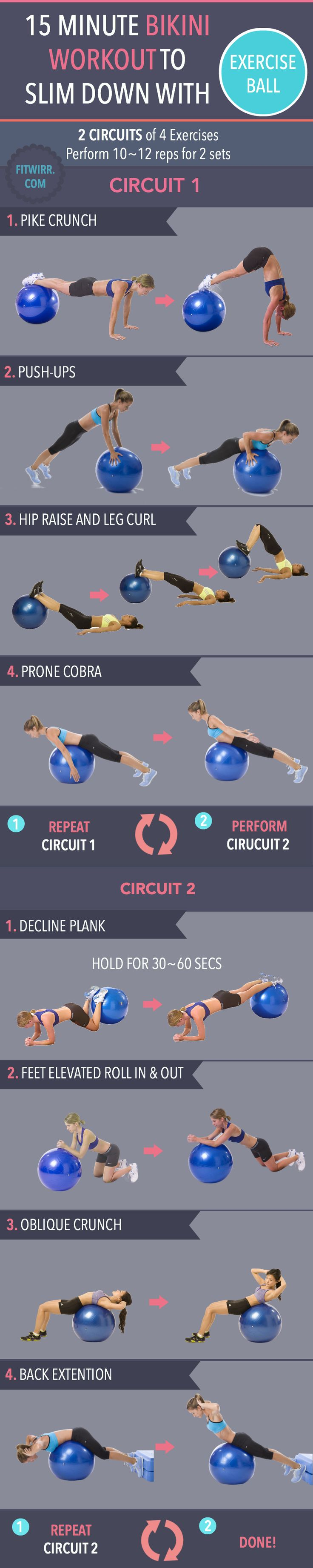 15 minute exercise ball workout to slim down for Summer