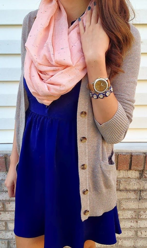 love the mix of fabrics - comfy dress with loose cardigan and an accent scart, plus accessories :)