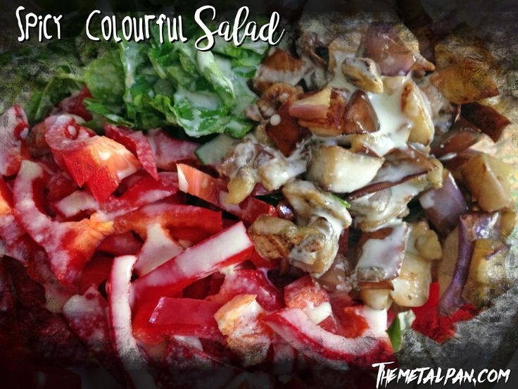 Spicy Colourful Salad - veggie salad with a jalapeno ranch dressing.