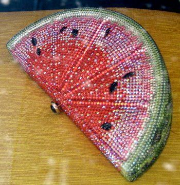 How very unique, a watermelon glitter clutch! Now when or where would you carry this little number??