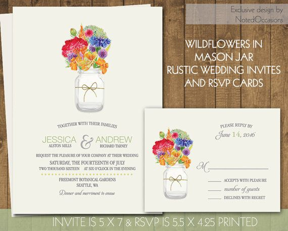 Widlflowers Rustic Wedding Invitations Country Herbs Mason jar - Country Wedding Invitations | Wedding Set DIY Digital File by NotedOccasions