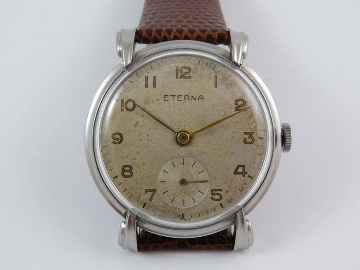 Rare vintage jumbo size 37mm eterna all steel mens art deco watch caliber 852 serviced ready to wear by Bohemianwatchsource on Etsy