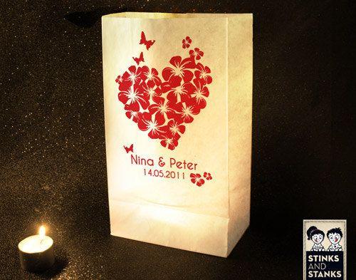 """*bedruckte Windlichttüten/Luminaria* """"Hochzeit - mit individuellem Namen und Datum""""    Eine romantische Hochzeitsdekoration und eine besondere Überras"""