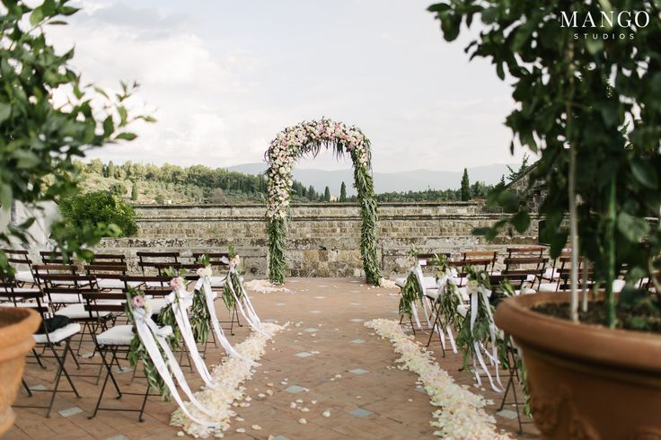 Outdoor Ceremony Decor #decor #outdoors #wedding #weddingday #location #ceremony #wedding #love #petals #landscape #details