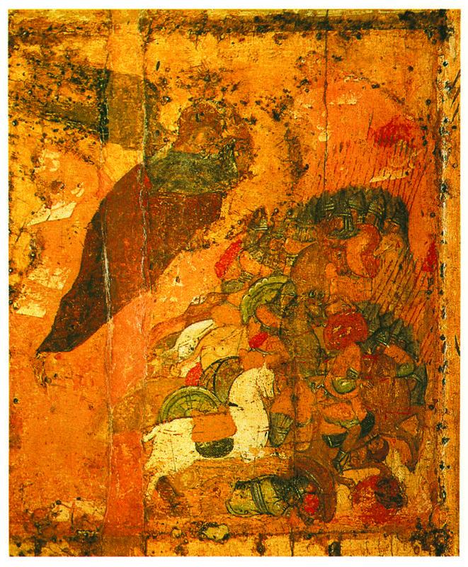 Начало XV в.  Архангел Михаил с житием.   Клеймо.  Побиение войска ассирийского..
