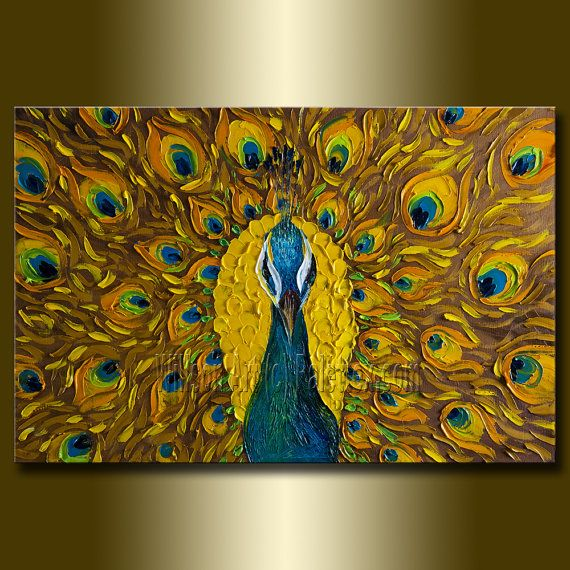 Original Peacock Oil Painting Textured Palette Knife by willsonart, $435.00 - I need this for my office