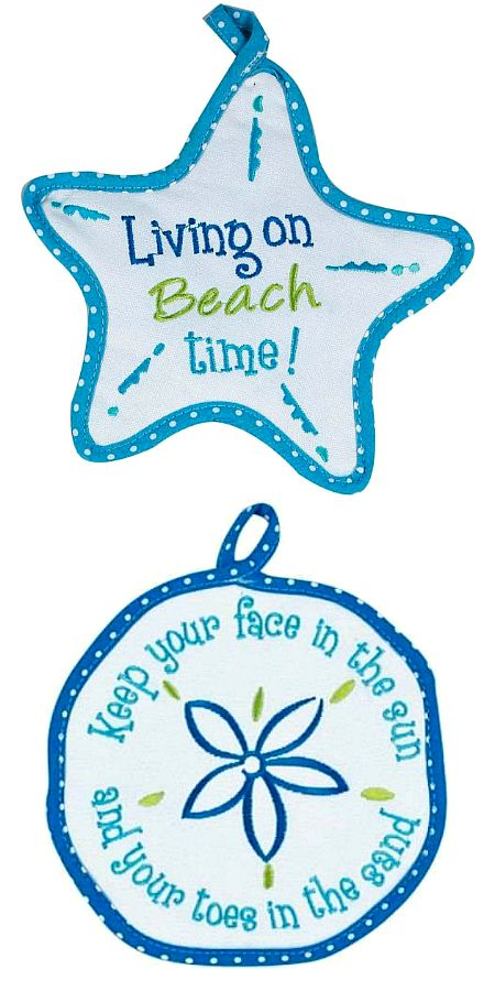 Beach Quote Pot Holders Sand Dollar and Starfish Shape: http://ocean-beach-quotes.blogspot.com/2015/01/beach-quote-pot-holders-sand-dollar-and.html