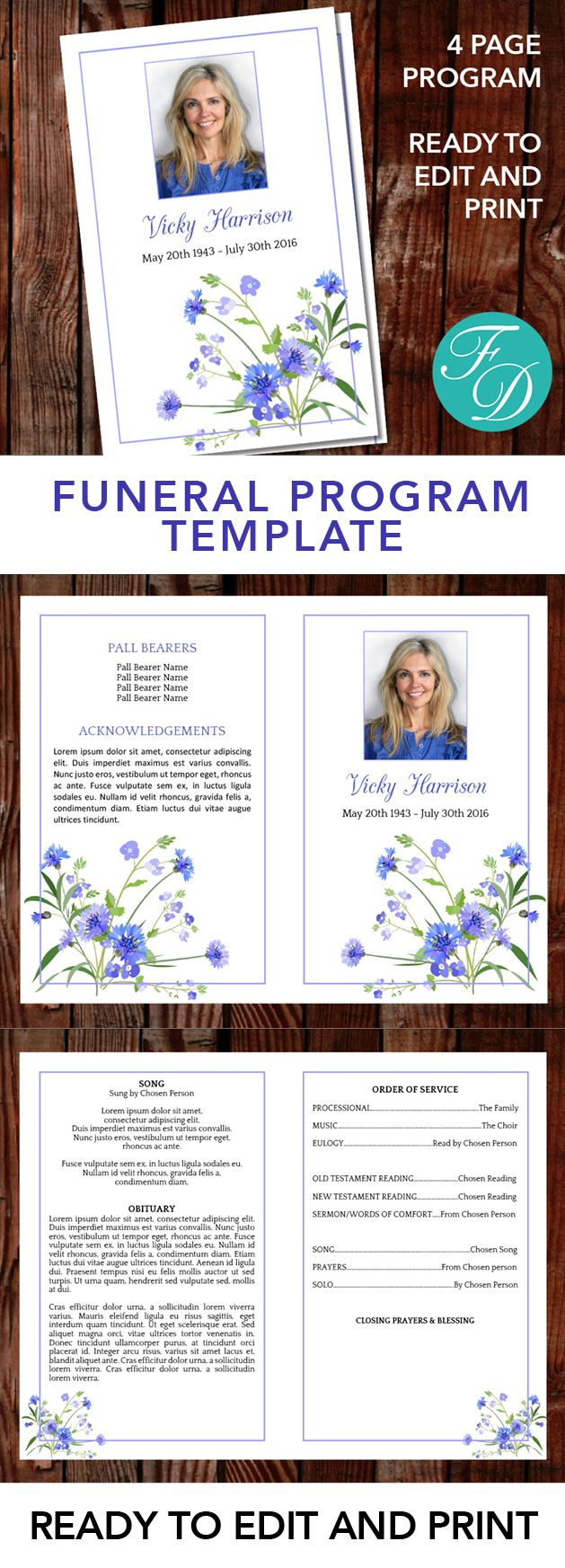 Blue Floral Printable Funeral program ready to edit & print Simply purchase your funeral templates, download, edit with Microsoft Word and print. #obituarytemplate #memorialprogram #funeralprograms #funeraltemplate #printableprogram #celebrationoflife