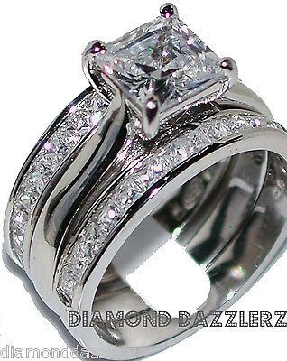 Jewelry Diamond : Princess cut Diamond Engagement Ring 3 Band Wedding Set sz 7 Sterling Silver 925