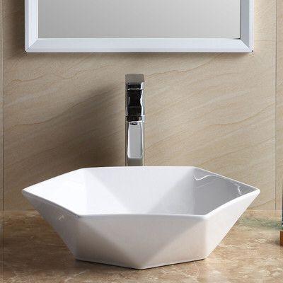 Modern Hexagon Shape Specialty Vessel Bathroom Sink