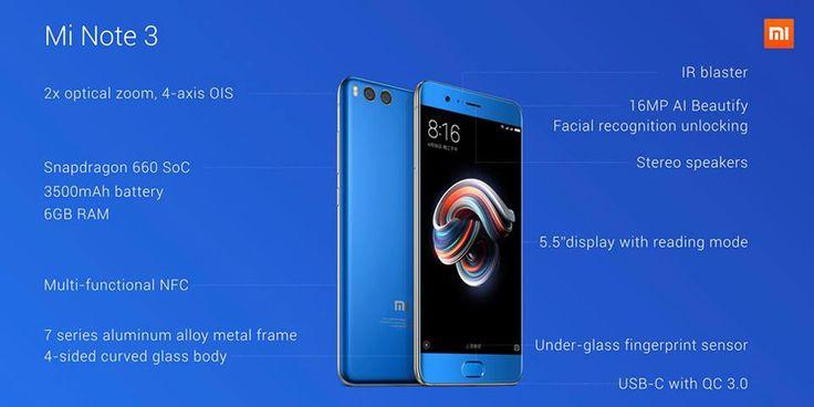 Xiaomi Mi Note 3 5.5 Inch Reconocimiento facial 6GB RAM 64GB ROM Snapdragon 660 2.2GHz Octa Core Smartphone