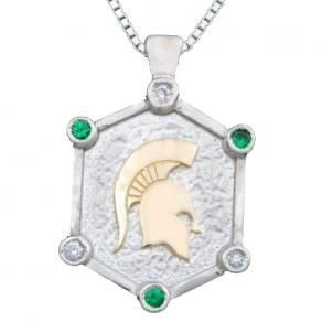 Diamond And Tsavorite Spartan Reales Pendant from Michiganstatejewelry.com