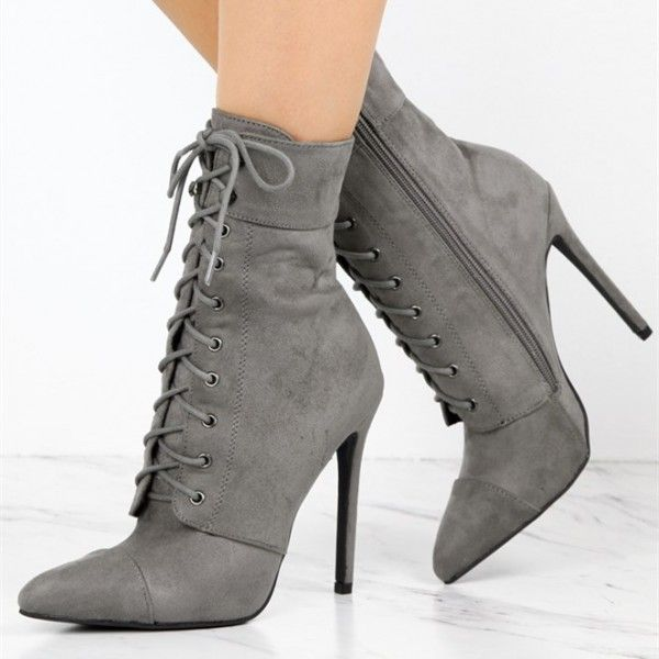 Women's Grey Lace Up Boots Suede Chunky
