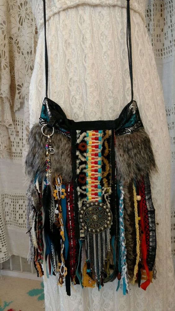 Handmade Black Suede Cross Body Fringe Bag Hippie Tribal Purse Faux Fur tmyers #Handmade #MessengerCrossBody