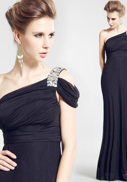One Shoulder Chiffon Sheath/ Column Floor Length Sleeveless Black Mother of the Bride Dress