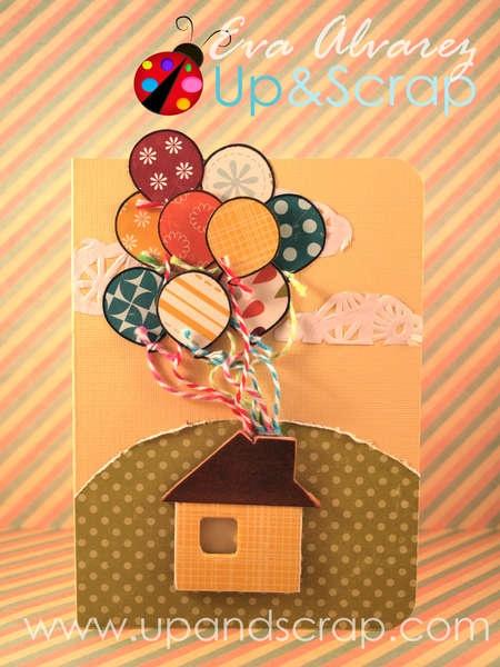 """Tarjeta de cumpleaños inspirada en la pelicula de Disney """"Up"""" para www.upandscrap.com"""