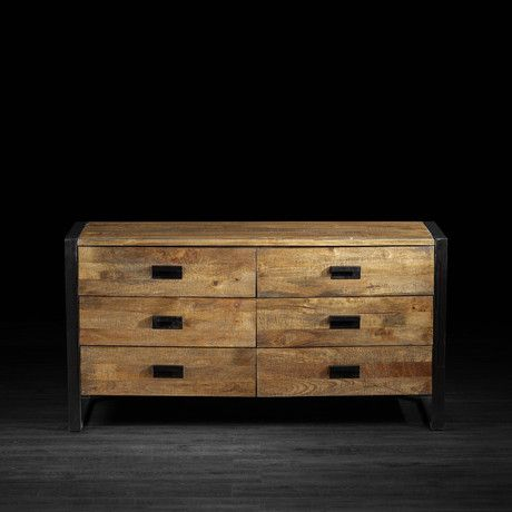 Delia Dresser - Inspired by nature and the organic beauty that surrounds us each and every day, the Delia Dresser with 6 Drawers is made of stunning, exotic mango wood. Accented with black wrought iron throughout, this industrial piece was designed to not only last a lifetime, but to do it in style.