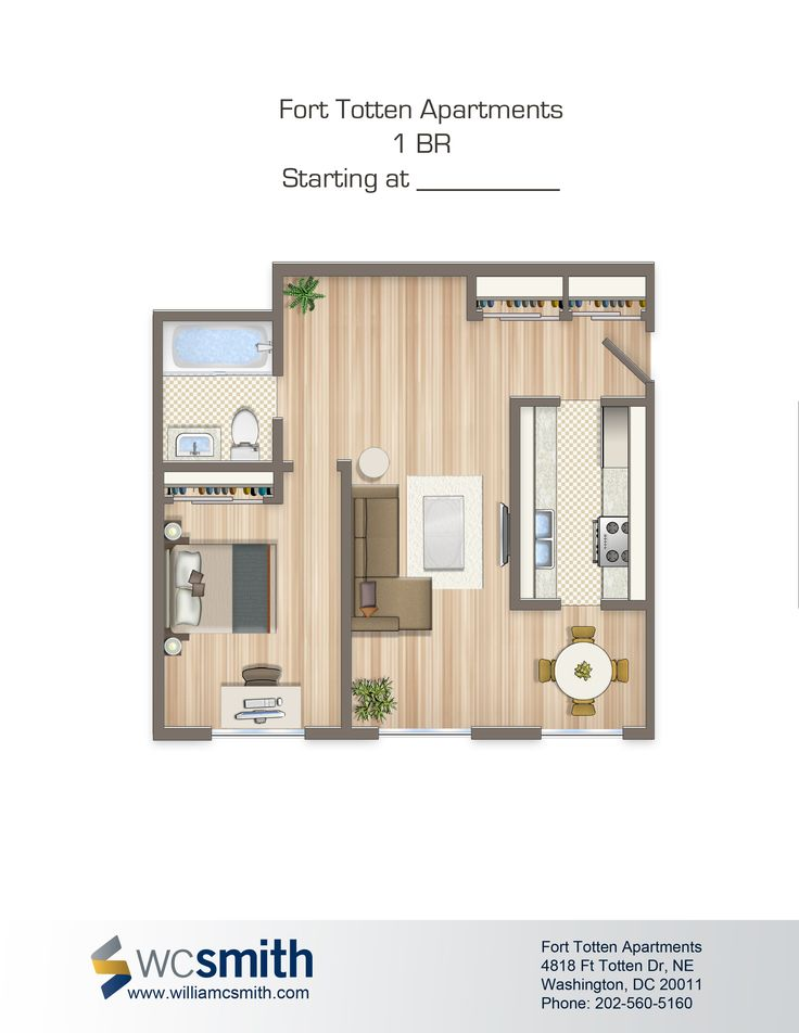 One Bedroom Floor Plan | Fort Totten in Northeast Washington DC | WC Smith # Apartments