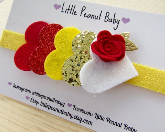 Glitter and Felt Heart Headband disney by LittlePeanutBaby