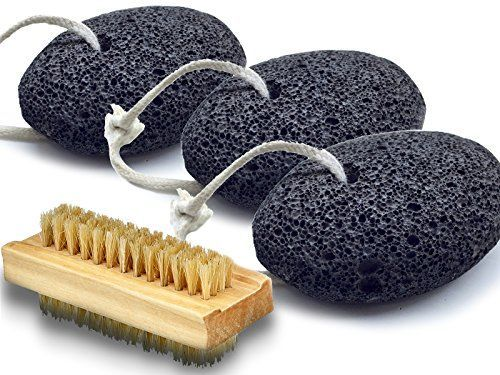 Bath Blossom Foot Pumice Stones (3 Pack) Natural Earth Lava - Skin Exfoliating Feet Scrubber Great for Dead Skin, Callus and Corn Removal Bonus Nail Cleaning Brush. For product & price info go to:  https://beautyworld.today/products/bath-blossom-foot-pumice-stones-3-pack-natural-earth-lava-skin-exfoliating-feet-scrubber-great-for-dead-skin-callus-and-corn-removal-bonus-nail-cleaning-brush/
