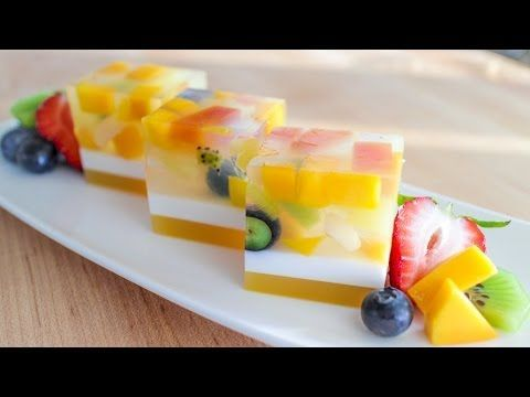 (1) Agar Jelly Fruit Cake Recipe เค้กวุ้นผลไม้ - Hot Thai Kitchen! - YouTube