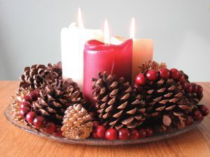 A simple glass dish, candles, berries and pinecones. A beautiful winter centerpiece for less than $10!
