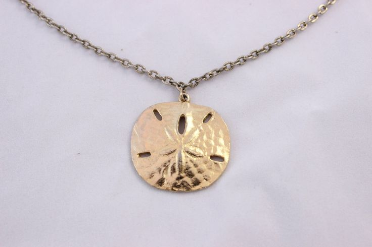 Lovely Gold Tone Sand Dollar Necklace, Gold Sand Dollar Pendant