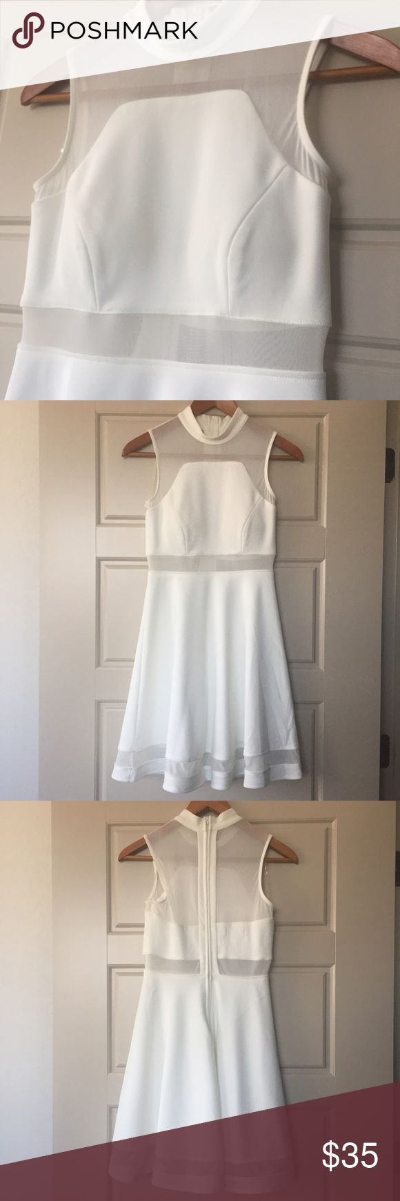 ✨🎉HP 1/6/2017 🎉✨ NORDSTROM White A-line Dress, S White A-line Dress, Size S. Pretty sleeveless white dress with sheer white mesh in just the right places adds a little edge to this classy and demure dress with a full A-line skirt. Features padded cups so don't need a bra. Has a light yellowish stain on the inside near hem on the back, reflective of price (see photo). Purchased from Nordstrom. Nordstrom Dresses