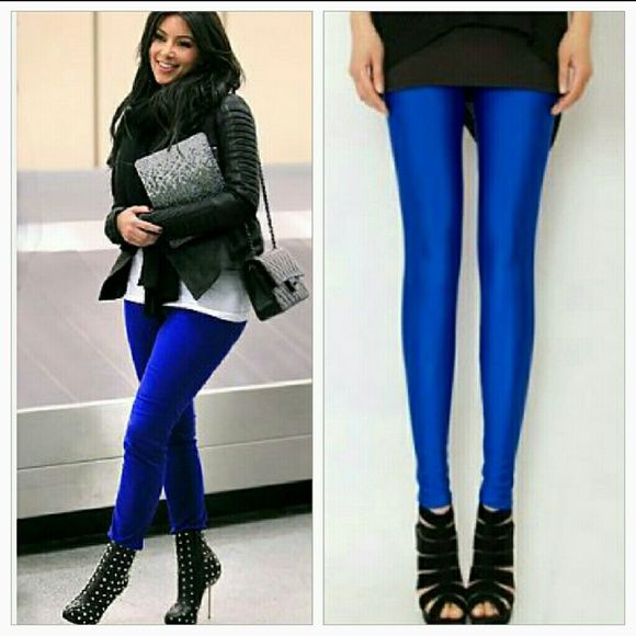 LAST PAIRRoyal blue leggings NWOT Royal blue leggings, pair these beauties with a long sweater and booties or a t-shirt, denim jacket and heels!!  Brand new without tag 65% cotton 30%polyester 5%spandex Size small No trades Price is firm unless bundled Pants Leggings
