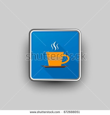 Vector illustration of blue square icon with steamy orange coffee cup.