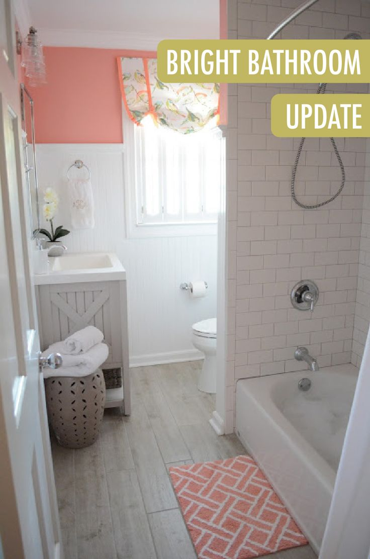 The Combination Of Wainscoting Coated In Ultra Pure White Behr Paint With Pops Of Coral Gives Bathroom Updatesbathroom