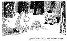 Berätta för mig om snön, sa Mumintrollet och satte sig