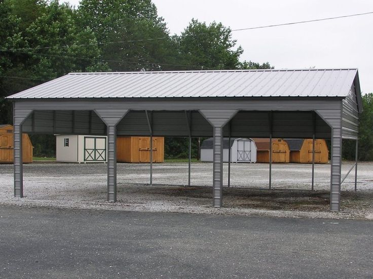 vertical roof side entry double carport for (3) mid-size