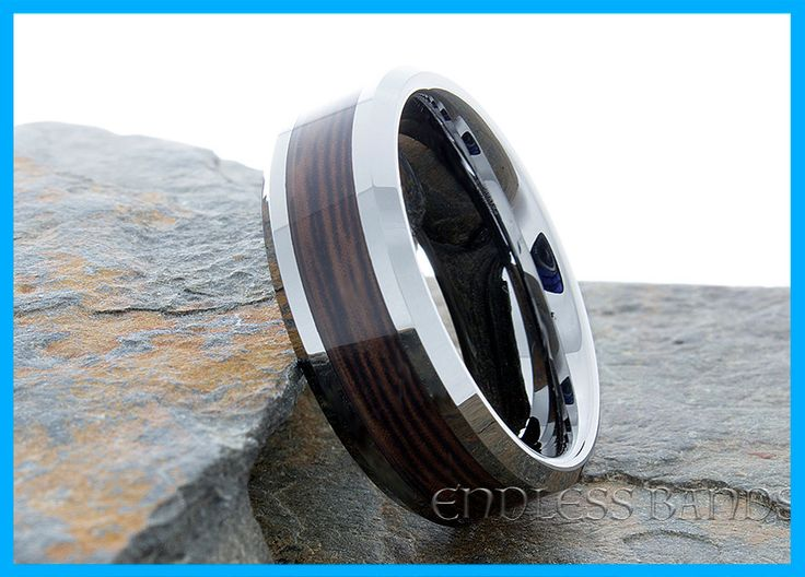 Tungsten Ring Wood Inlay Wedding Band Elegant Laser Engraving Mens Women Classic Modern New Anniversary Beveled Tungsten Band Wedding 8mm by EndlessBands on Etsy https://www.etsy.com/listing/251842569/tungsten-ring-wood-inlay-wedding-band