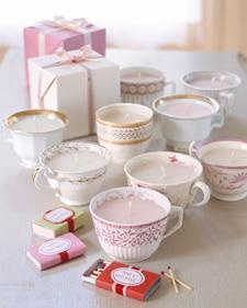 Breathe new life into partially burned candles and antique teacups that have lost their saucers.