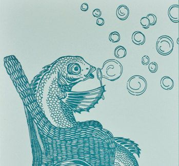 Blowing Bubbles Fish by DandyLionPress on Etsy, $4.00