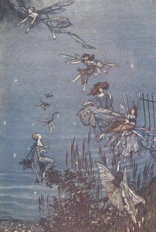 1906 Arthur Rackham (English illustrator, 1867-1939) ~The Serpentine is a lovely lake … from 'Peter Pan in Kensington Gardens' [detail]